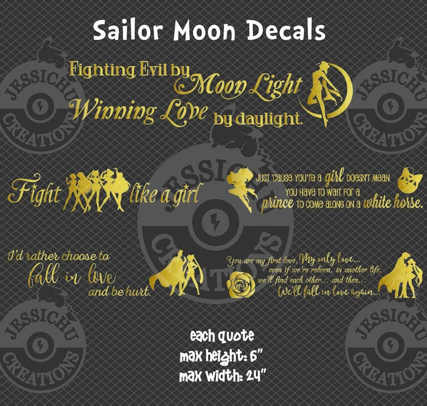 Fighting Evil By Moon Light - Sailor Moon Inspired Geeky Quote Wall Vinyl Decal Decals