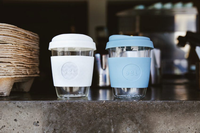 One Less , SoL Cups. Hand Blown Reusable Coffee Cups