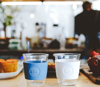 One Less , SoL Cups. Hand Blown Coffee Cups, White Wave and Blue Stone 8oz