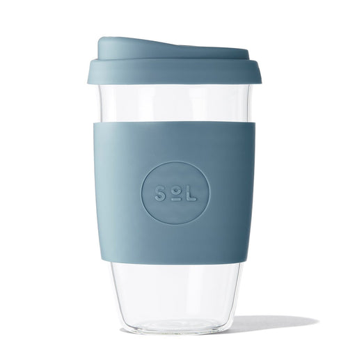 Eco Friendly SoL Cups 16oz Blue Stone Hand Blown Glass Coffee Tumbler from One Less - Available in Canada & USA