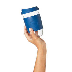 Eco Friendly SoL Cups 16oz Winter Bondi Blue Hand Blown Glass Coffee Tumbler from One Less - Available in Canada & USA