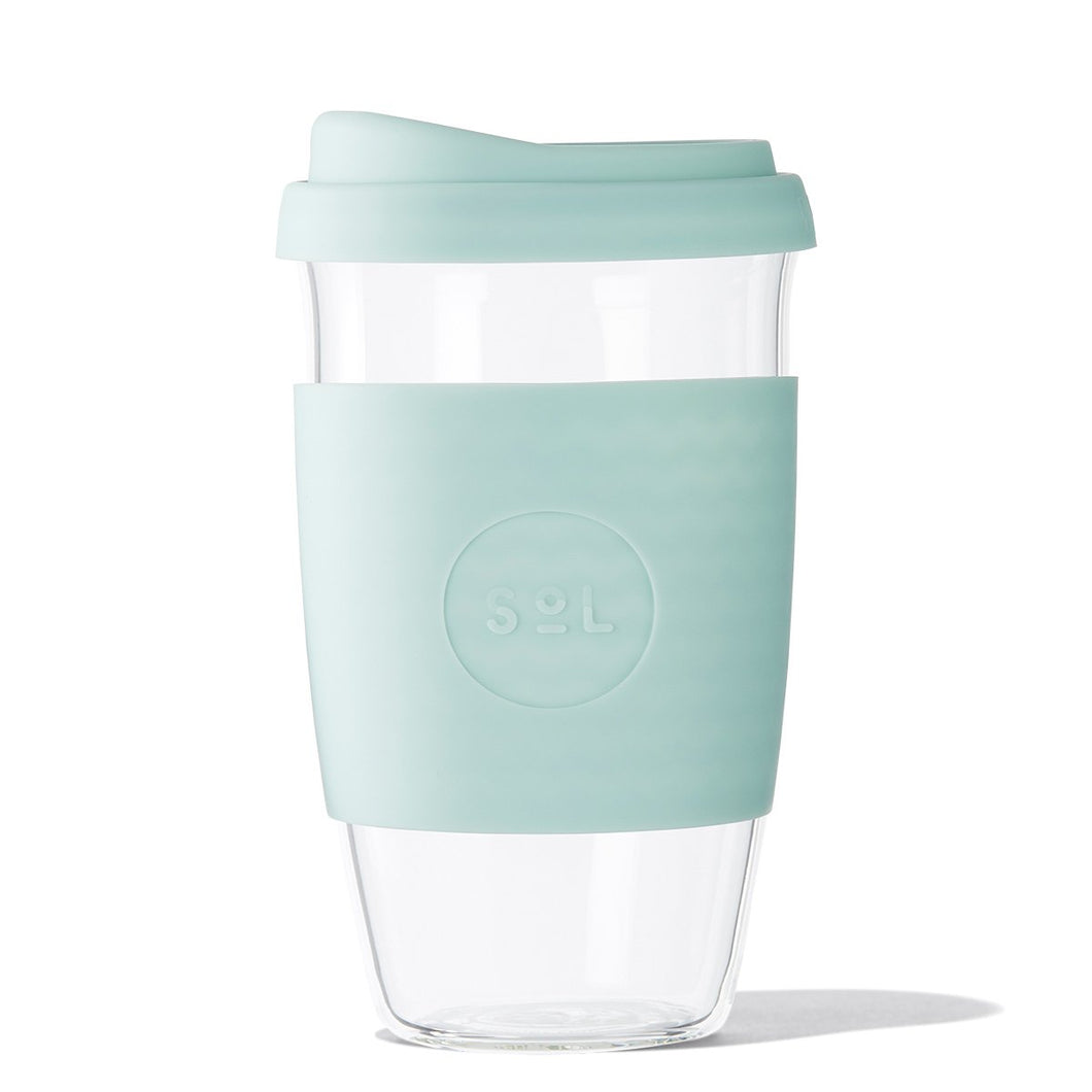 Eco Friendly SoL Cups 16oz Cool Cyan Hand Blown Glass Coffee Tumbler from One Less - Available in Canada & USA