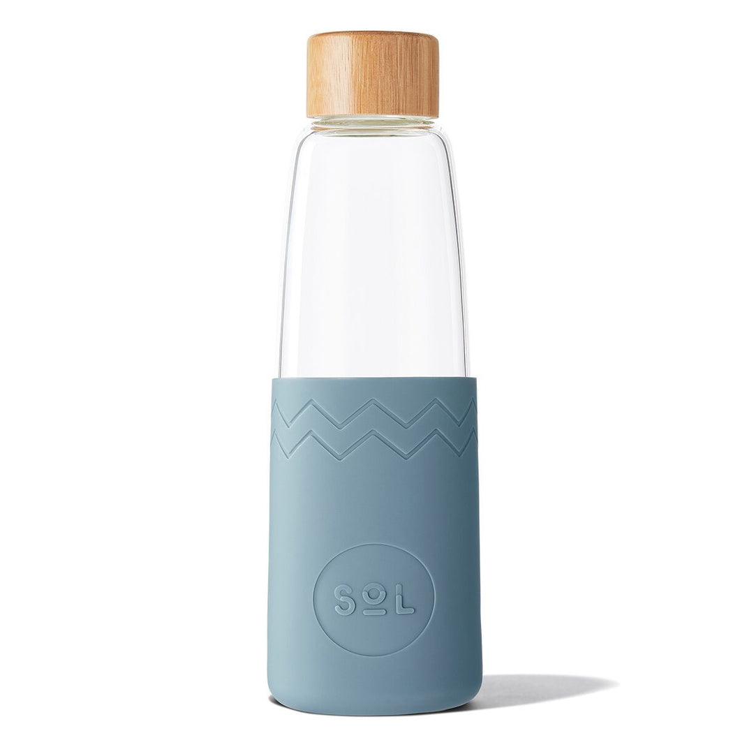 SoL Cups 28oz Hand Blown Glass Water Bottle in Blue Stone available from One Less