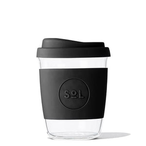 Eco Friendly SoL Cups Hand Blown Glass Coffee Tumbler from One Less - Basalt Black 8oz Cup Kit with Stainless Straws and Pouch