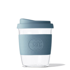 Eco Friendly SoL Cups 8oz Blue Stone Hand Blown Glass Coffee Tumbler from One Less - Available in Canada & USA