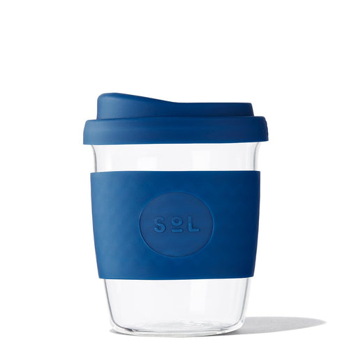 Eco Friendly SoL Cups 8oz Winter Bondi Blue Hand Blown Glass Coffee Tumbler from One Less - Available in Canada & USA