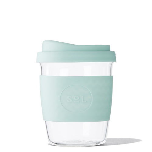 Eco Friendly SoL Cups 8oz Cool Cyan Hand Blown Glass Coffee Tumbler from One Less - Available in Canada & USA