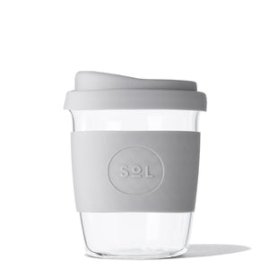 Eco Friendly SoL Cups Hand Blown Glass Tumbler from One Less - Cool Grey 8oz