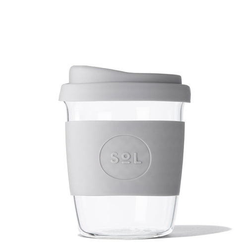 Eco Friendly SoL Cups 8oz Cool Grey Hand Blown Glass Coffee Tumbler from One Less - Available in Canada & USA