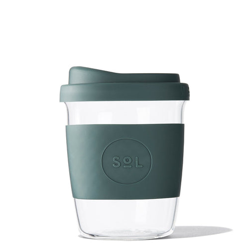 Eco Friendly SoL Cups 8oz Deep Sea Green Hand Blown Glass Coffee Tumbler from One Less - Available in Canada & USA