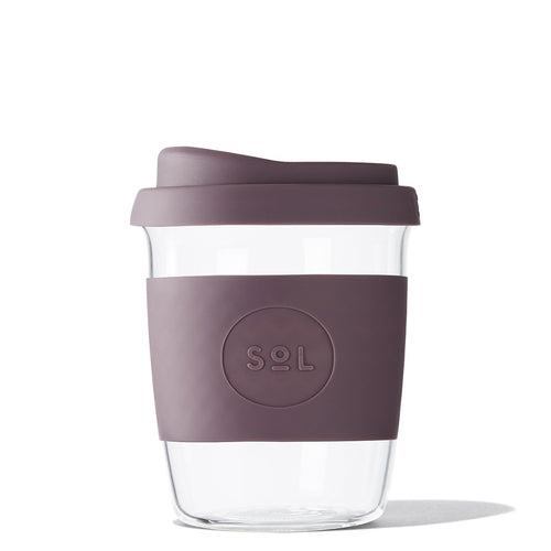 Eco Friendly SoL Cups 8oz Mystic Mauve Hand Blown Glass Coffee Tumbler from One Less - Available in Canada & USA