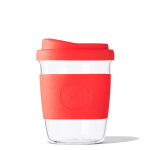 Eco Friendly SoL Cups 8oz Rocket Red Hand Blown Glass Coffee Tumbler from One Less - Available in Canada & USA