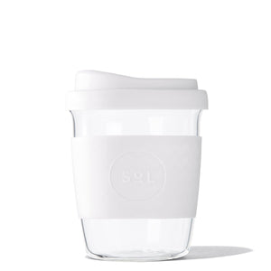 Eco Friendly SoL Cups 8oz White Wave Hand Blown Glass Coffee Tumbler from One Less - Available in Canada & USA