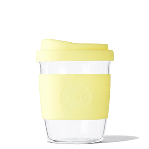 Eco Friendly SoL Cups 8oz Yummy Yellow Hand Blown Glass Coffee Tumbler from One Less - Available in Canada & USA
