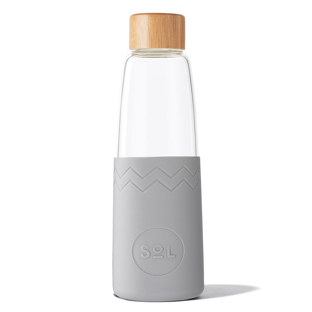 SoL Cups 28oz Hand Blown Glass Water Bottle in Cool Grey available in Canada and the USA from One Less