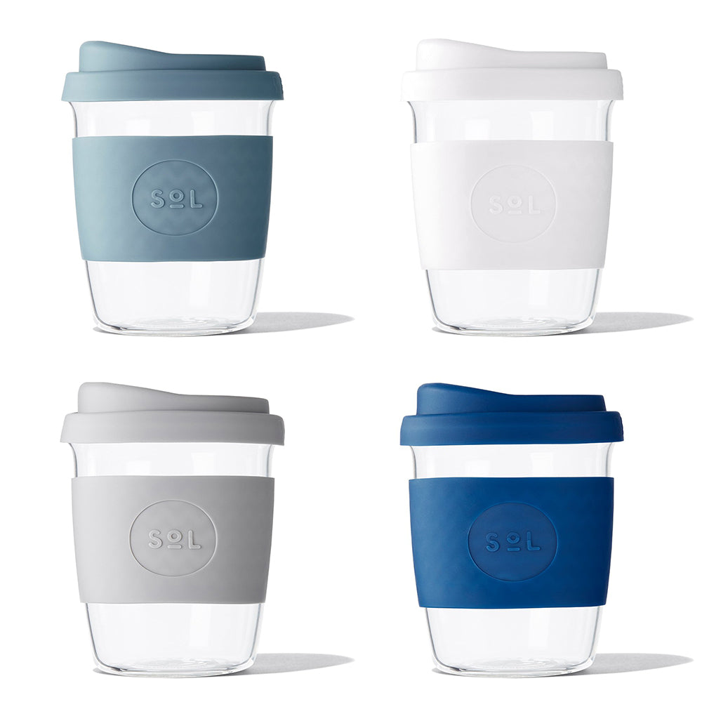 Eco-Friendly SoL Cups Glass Tumblers 8oz Winter 4-Pack from One Less