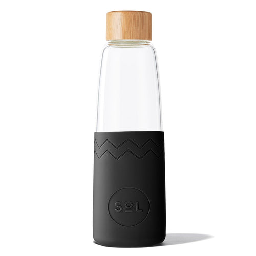 SoL Cups 28oz Hand Blown Glass Water Bottle in Basalt Black available from One Less