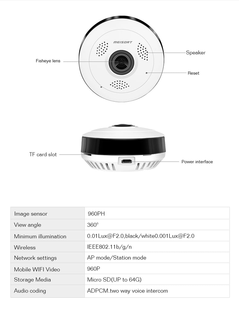360 Degrees Smart Home Security Camera