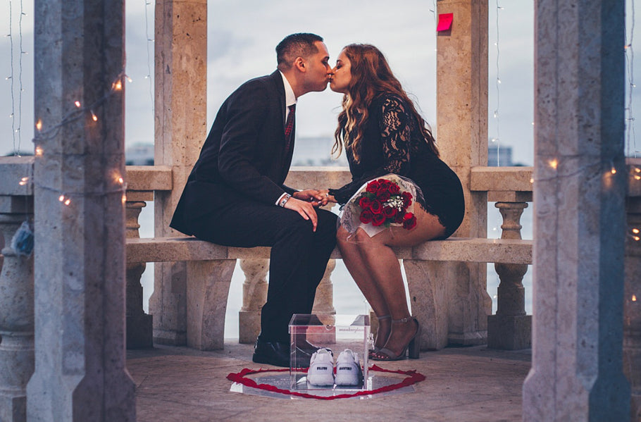 A Sneakerhead  Marriage Proposal with Sneaker Glass