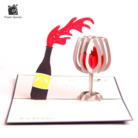 3D Pop up - Red Wine Greeting Card