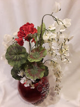 ROUND RED JEWELED VASE-White and Red Flower Arrangement