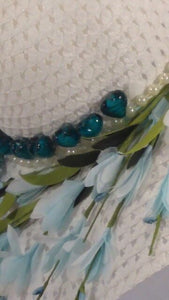 ANGELICA'S -  Glass Blue and black hearts &Pearls w/Flowers