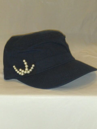 NAVIE SEASON- Navy Blue W/Pearls Cap
