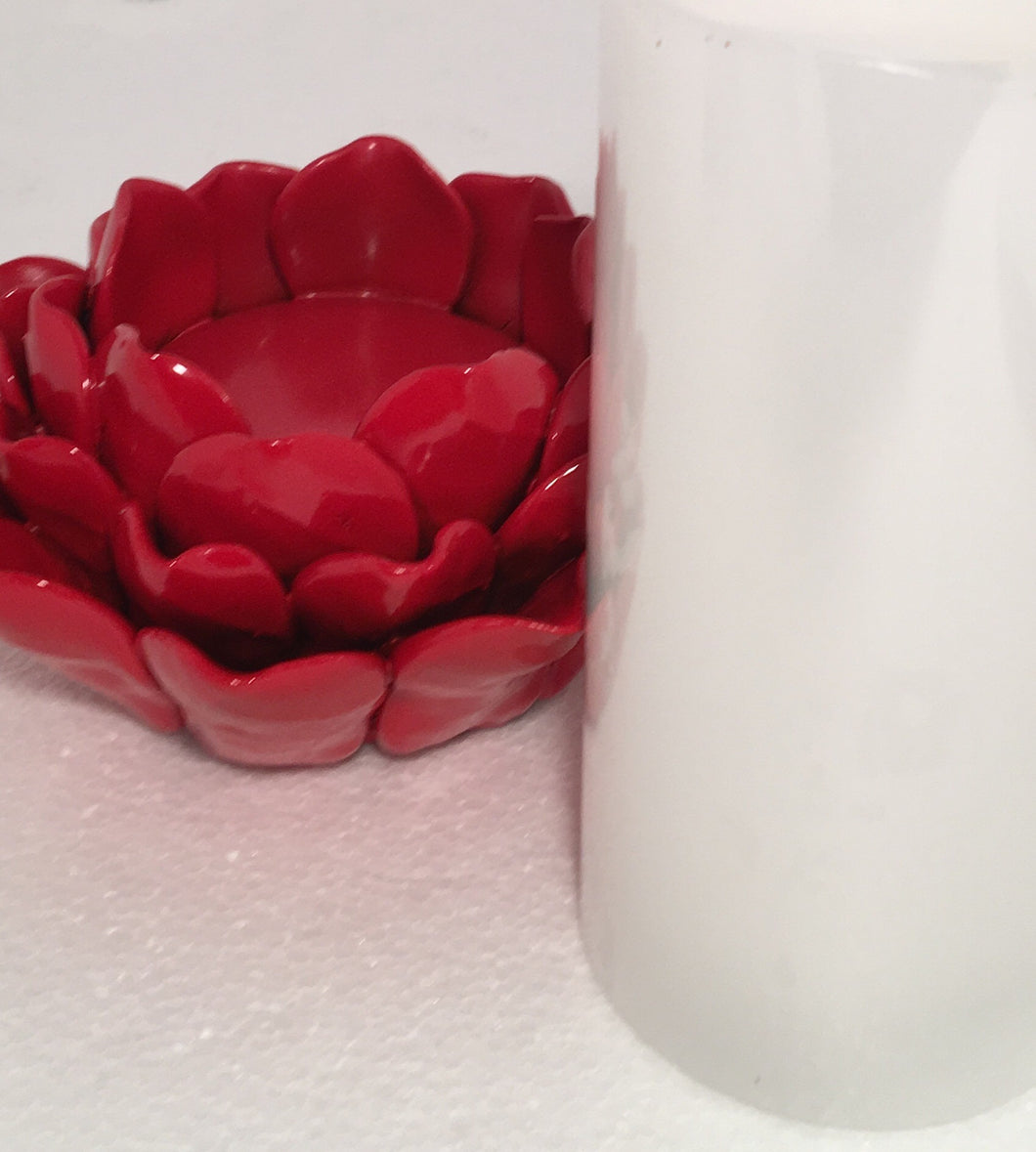 RED- Flower Candle Holder