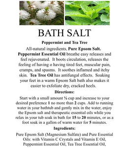 PEPPERMINT & TEA TREE- Medium Jar Bath Salt