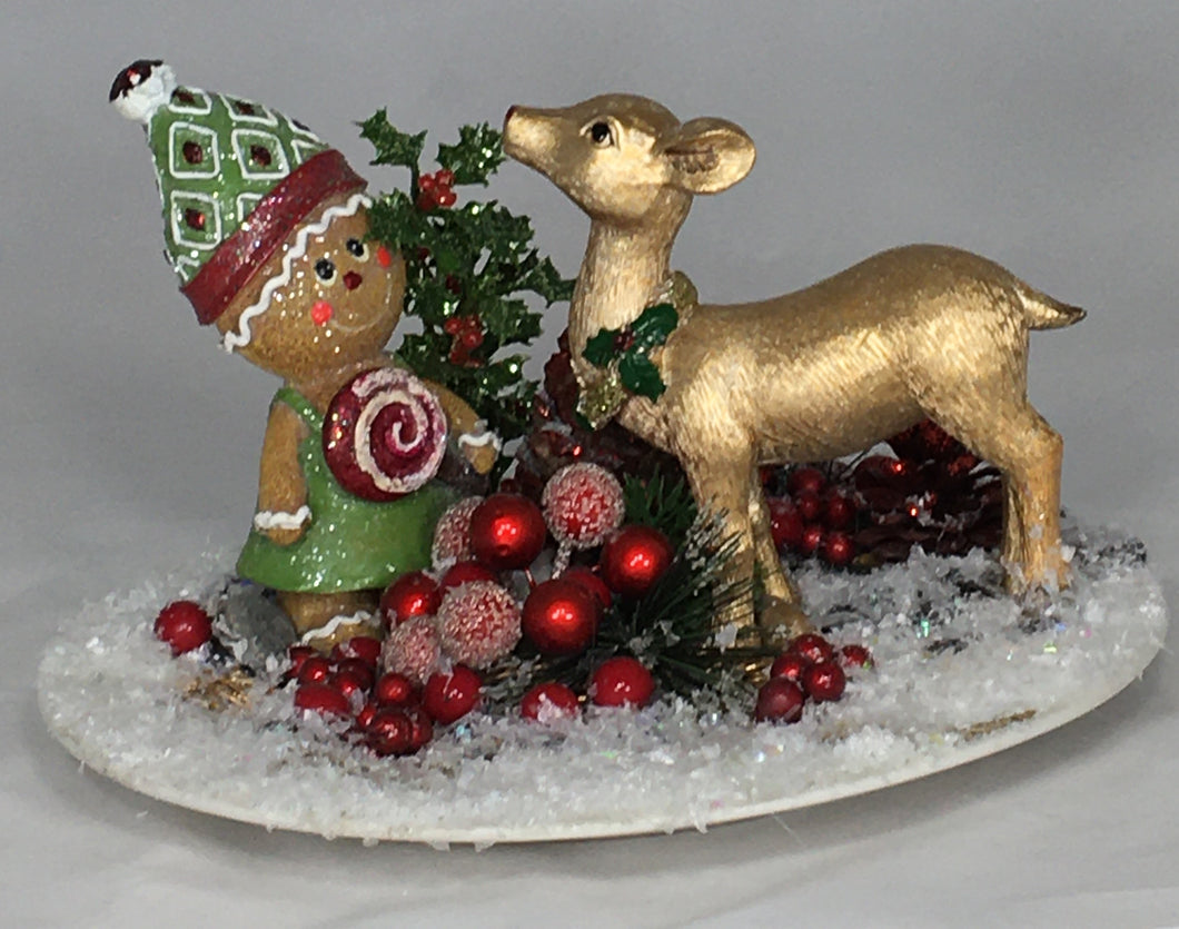 GINGERBREAD-LADY  w/ Golden Reindeer