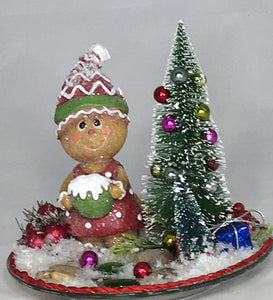 GINGERBREAD-LADY- w/Christmas Tree