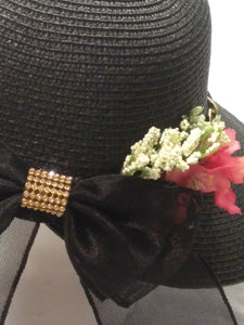 ADRIEL-  Black Bonnet w/Red ,White and Gold Chin Accents Hat