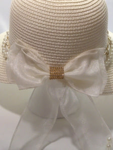 TINA-  Natural Bonnet w/White  & Gold Accents Hat