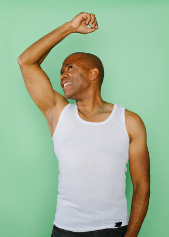 Man happy with his pits!