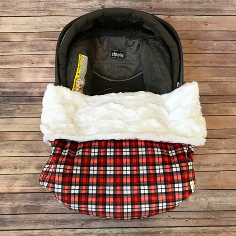 Snuggle Baby No Slip Stroller Blanket in Plaid Minky