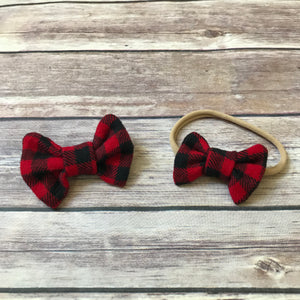 Plaids Set of 2 Cotton Bows {Multiple Colors} - Snuggle Up Buttercups