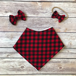 Plaid Bib + Bow Headband Bundle {Multiple Prints}
