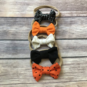 Halloween Set of Mini Cotton Bow Headbands
