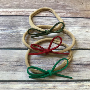 Christmas Set of Petite Suede Bow Headbands - Snuggle Up Buttercups