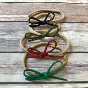 Holiday Set of Petite Suede Bow Headbands - Snuggle Up Buttercups