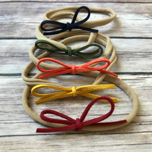 Fall Set of 5 Petite Suede Bow Headbands