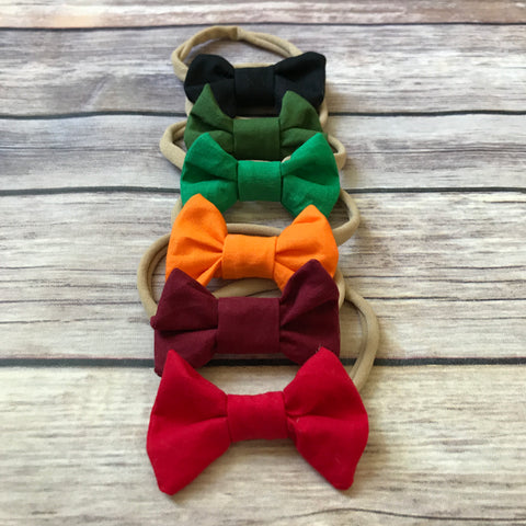 Mini Cotton Bow Headband {Multiple Colors} - Snuggle Up Buttercups
