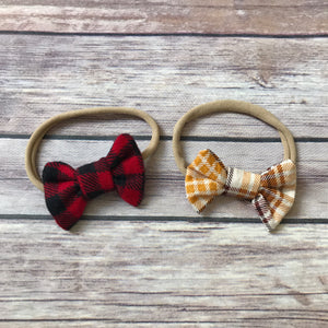 Plaid Set of Mini Cotton Bow Headbands - Snuggle Up Buttercups