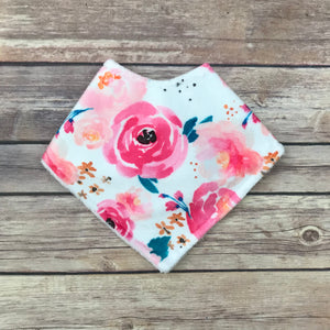 Bright Pink Watercolor Floral Minky Bib - Snuggle Up Buttercups