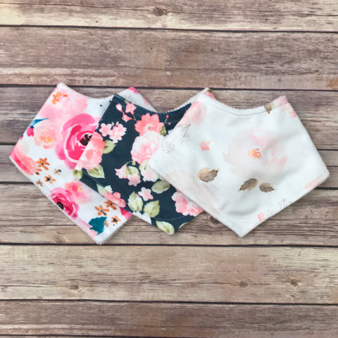 Watercolor Floral Minky Bib Set of 3 - Snuggle Up Buttercups