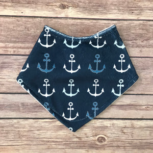 Navy Anchor Minky Bib - Snuggle Up Buttercups