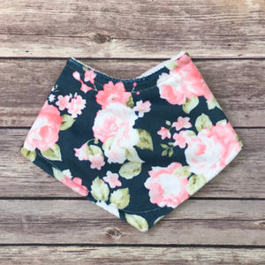 Navy Watercolor Floral Minky Bib - Snuggle Up Buttercups