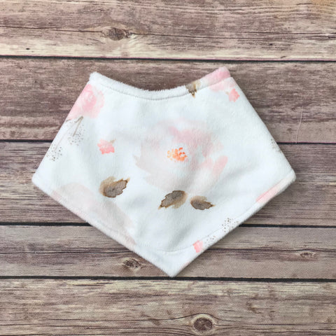 Light Pink Watercolor Floral Minky Bib - Snuggle Up Buttercups