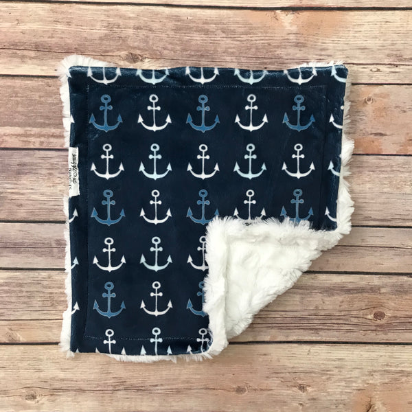 Navy Anchor Minky Mini Snuggle Blanket - Snuggle Up Buttercups