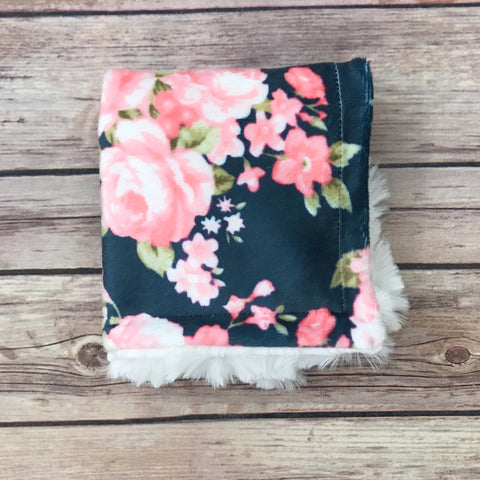 Watercolor Floral Minky Mini Snuggle Blanket {Multiple Colors}